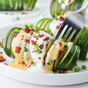 Savory Keto Snack Loaded Hasselback Zucchini