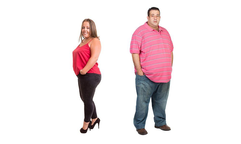 Ubicaciones de depósitos de grasa en hombres contra mujeres